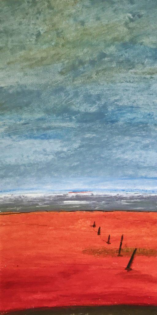 Roter Sand, 2018, Oilpastel 30 x 60 cm