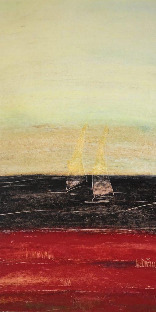 Strandsicht, 2018, Oilpastel 30 x 60 cm